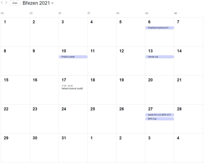 Nový kalendář akcí na rok 2021